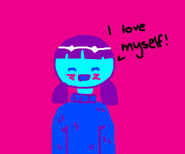 Purple-haired girl loves herself