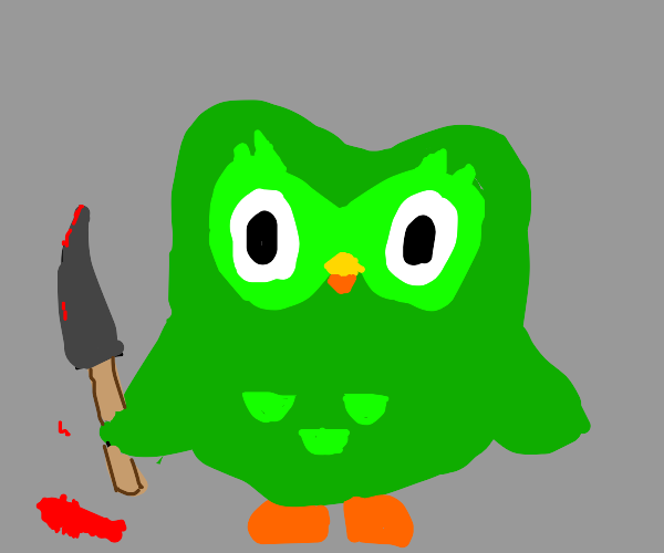Duolingo owl with a knife