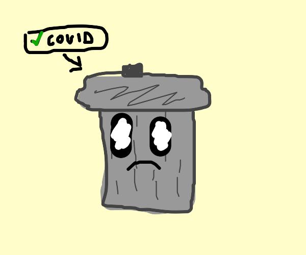 trash can has covid