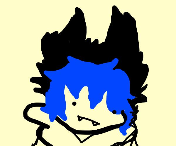 blue-haired anime vampire
