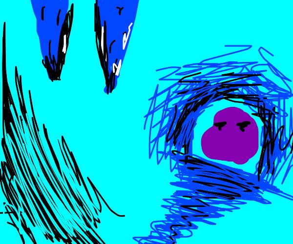 A purple blob hiding in a blue cave