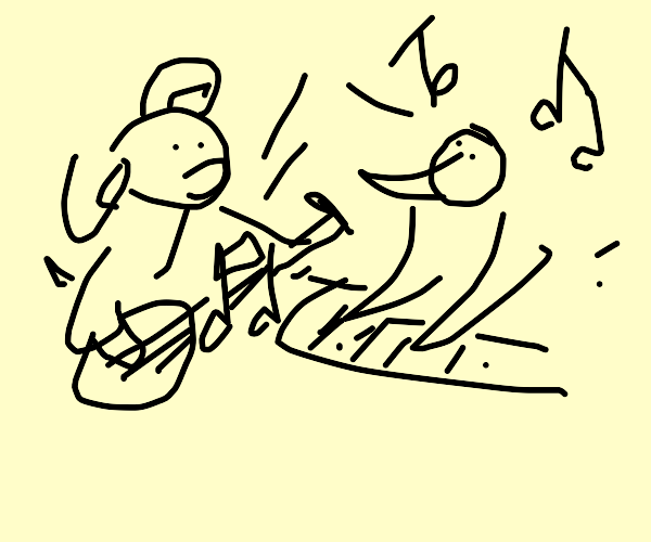 Dog and bird create music