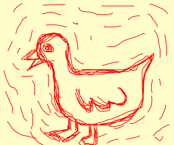 duck with red sqiggles