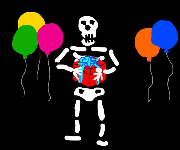 Skeleton receives a present