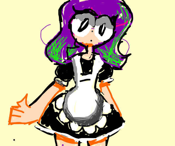 maid with colorful hair