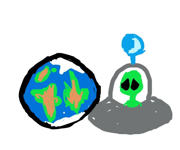 Sad alien looks at Earth ruins