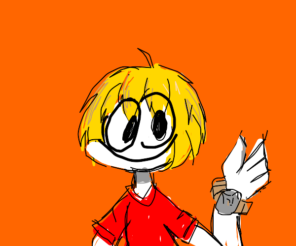 yellow hair guy with watch