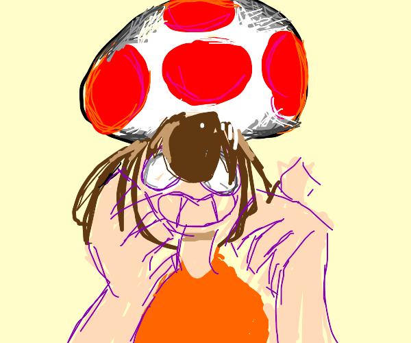 mushrooms-obsessed girl