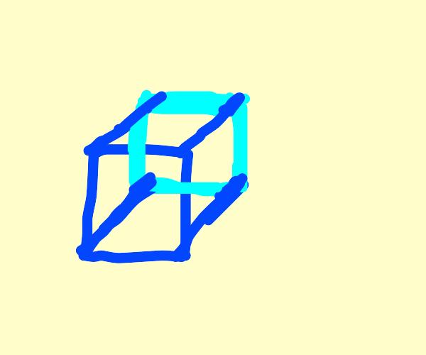 A blue, transparent cube