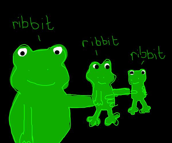 Frog grabbing frog grabbing frog