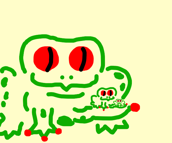 Frog holding smaller frog holding tiny frog