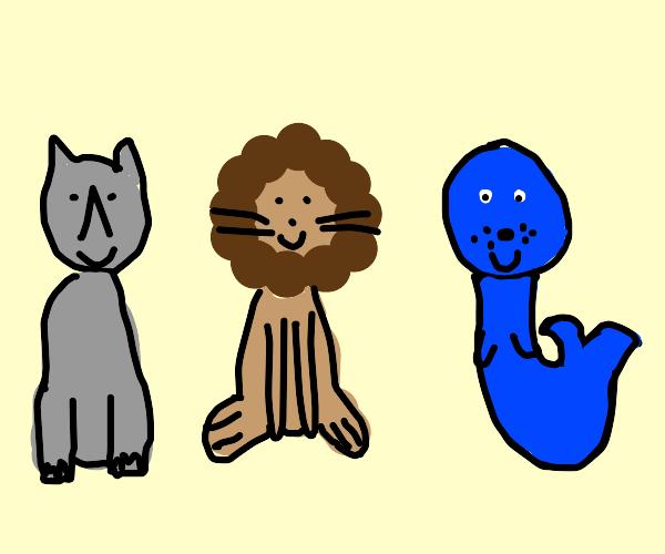 3 happy animal friends c: