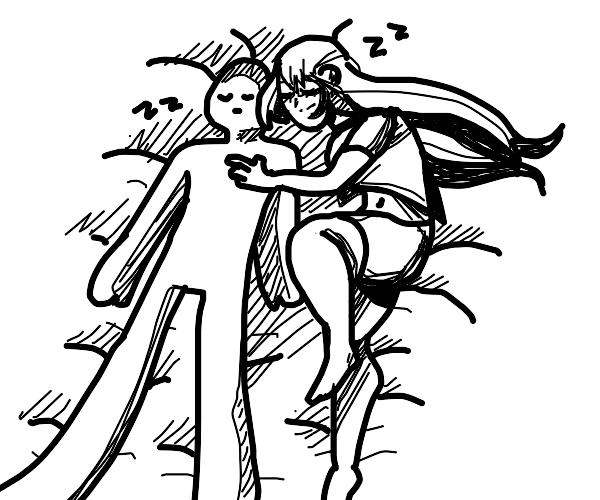 Anime Girl sleeping with someone