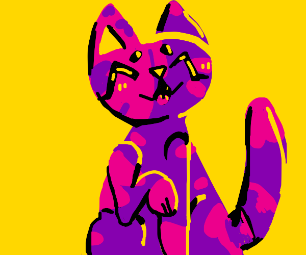 pink and purple cat is happy
