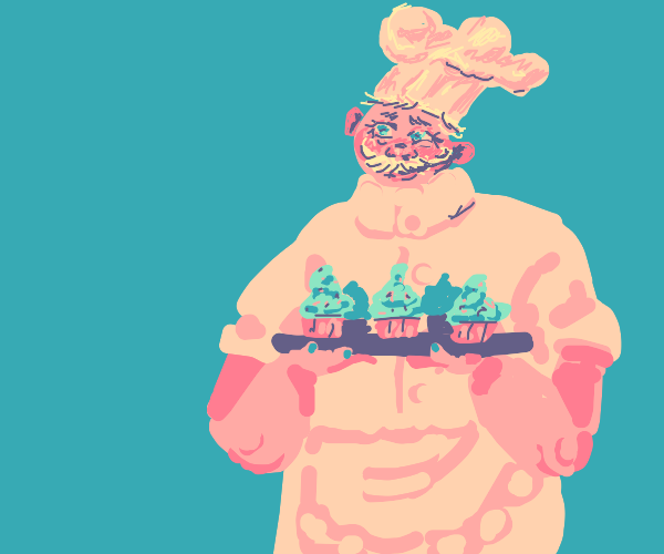 happy chef has red skin