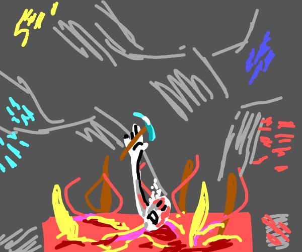 Burning in lava