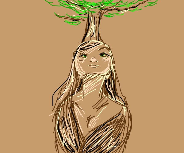 A tree growing out of a person's head