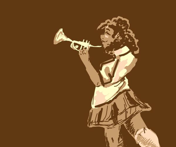 schoolgirl holding a trumpet