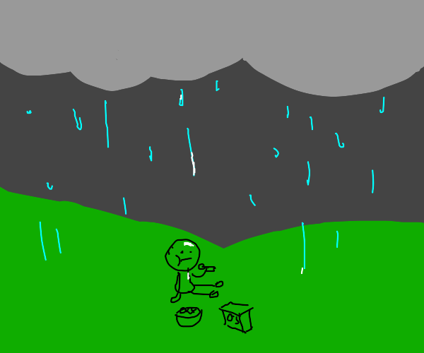 Eating cereal in the rain