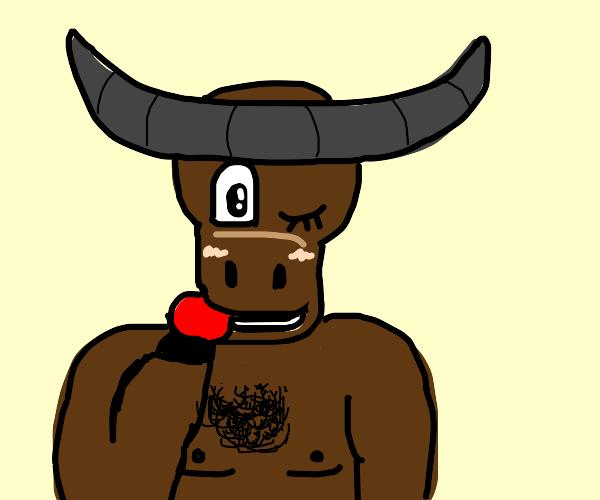 Seductive Minotaur eats an apple