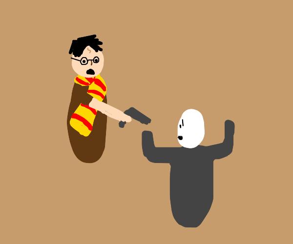Harry potter mugs Voldemort at gun point.