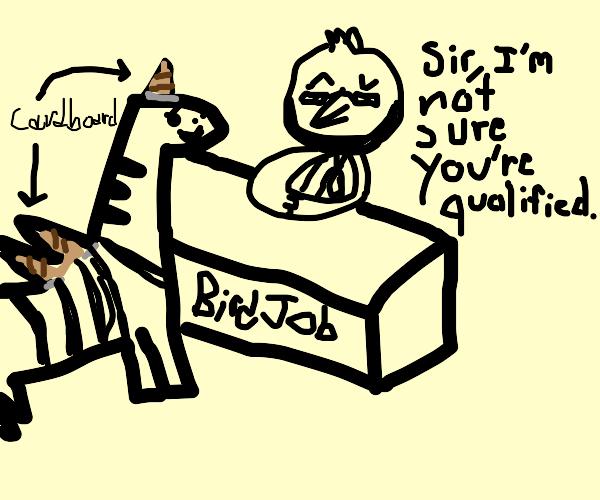Fake pegasus zebra unqualified for bird job.