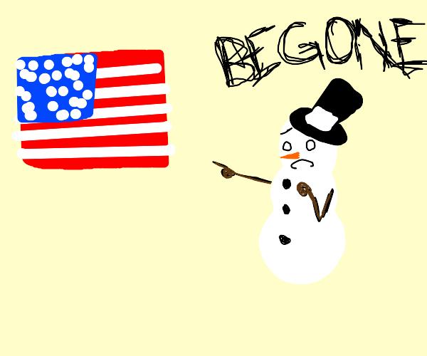 snowman afraid of america