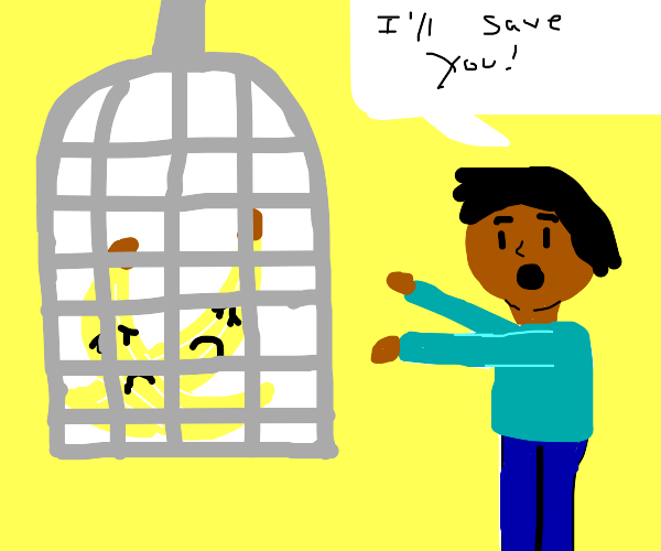 Sad bananas in a cage, about to be rescued