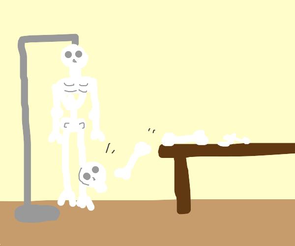 bones fall off a table