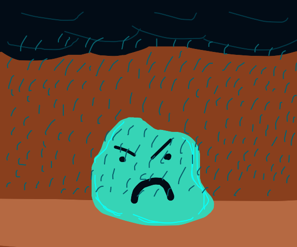green angry blob  in the rain