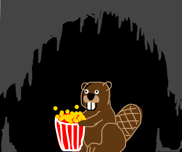 a beaver eating popcorn in a cave