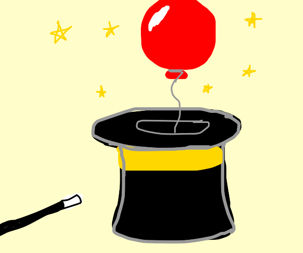 balloon floats out of magician's hat