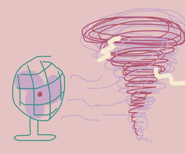 Fan creating wind storm