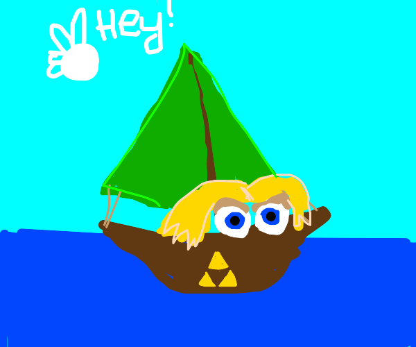 Link, as a sail boat.