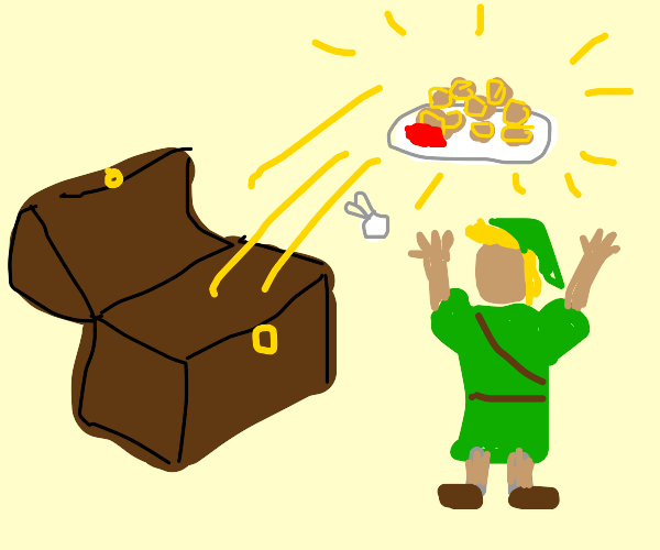 Link (loz) finds tater tots in a chest