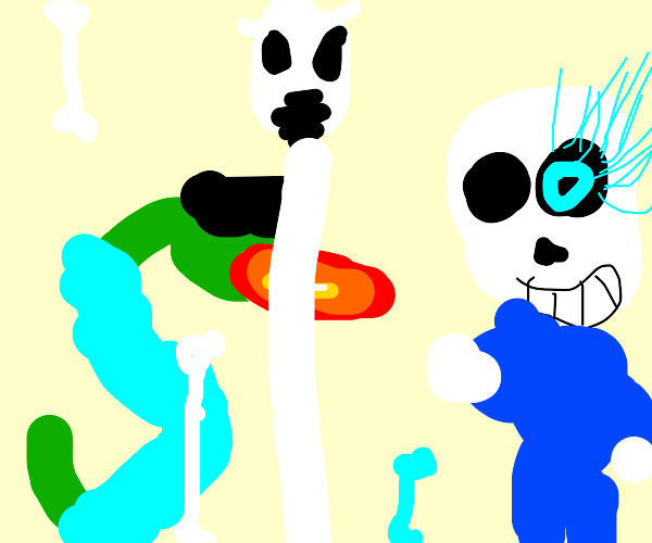 Fire breathing snake fights skeleton