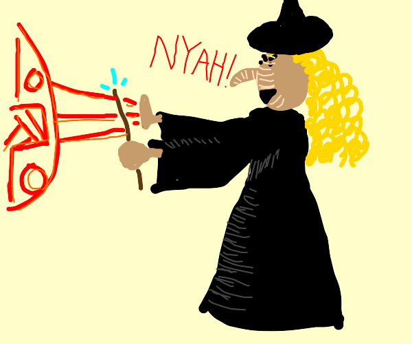 Blonde witch casting a spell on some people
