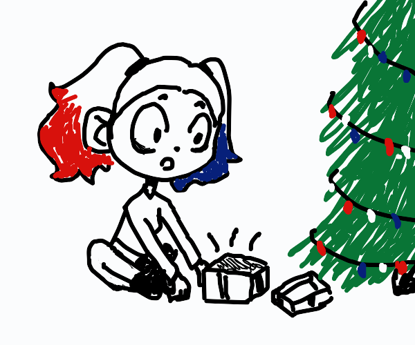 Harley Quinn opens a Christmas gift.