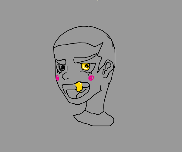 Cool guy with gold tooth and gold eye