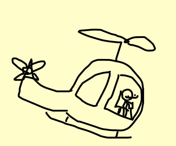 Guy flying a helicopter