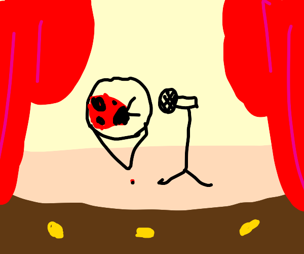 A very funny ladybug does stand-up comedy