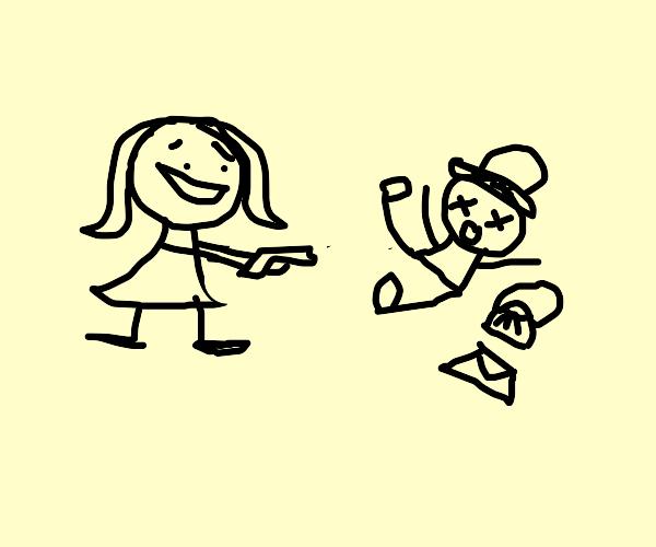 little girl draws the mailman