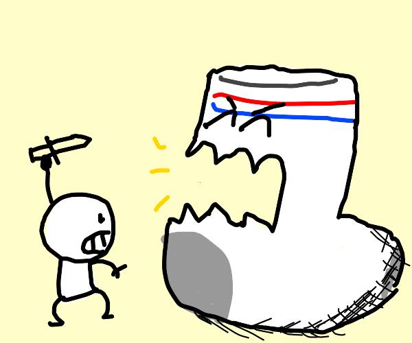 man fights giant sock