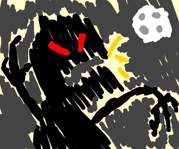 Terrifying scribble monster