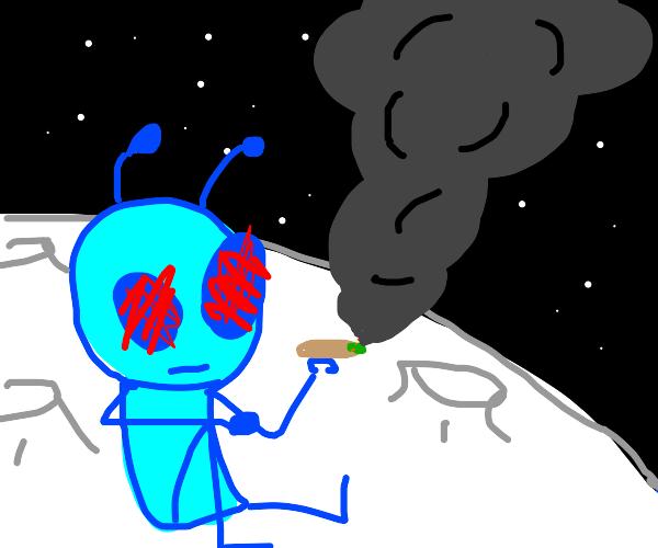 A blue alien having a smoke on the moon