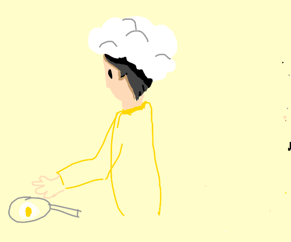 Guy who wears a cloud as a hat cooks an egg
