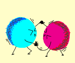 Blue ball and red ball with limbs fight