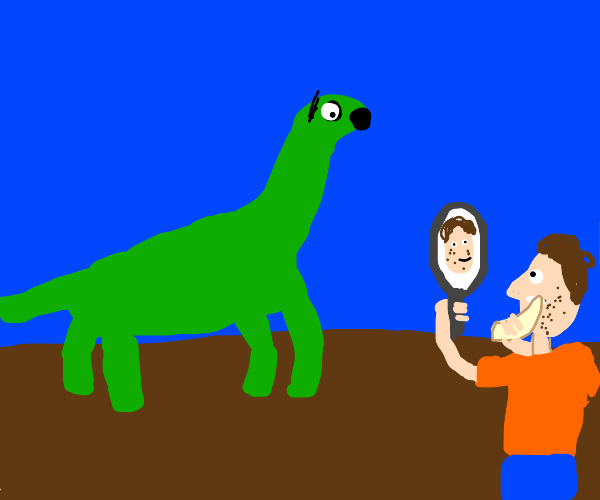 Dinosaur is alarmed by man shaving with claw.