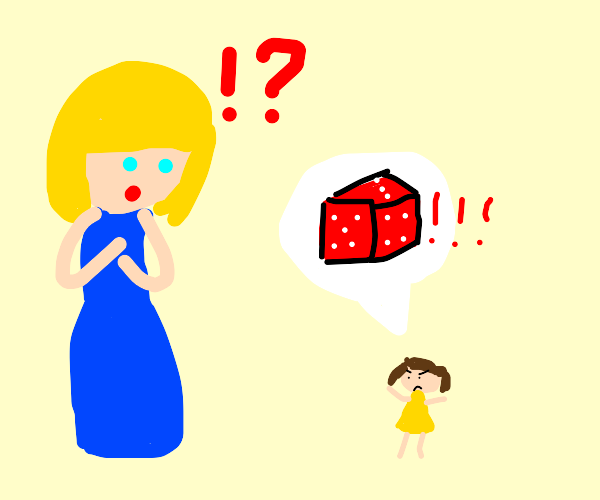 Small girl wants red dice, surprises woman