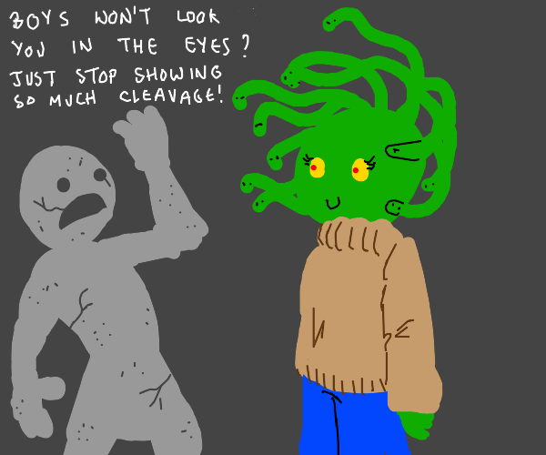 Casual-dressed medusa turns person into stone